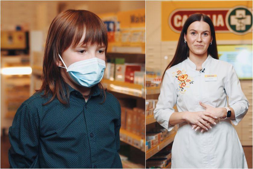 Vaistininkė parodė, kaip paprastai ir greitai medicininę kaukę pritaikyti vaikui
